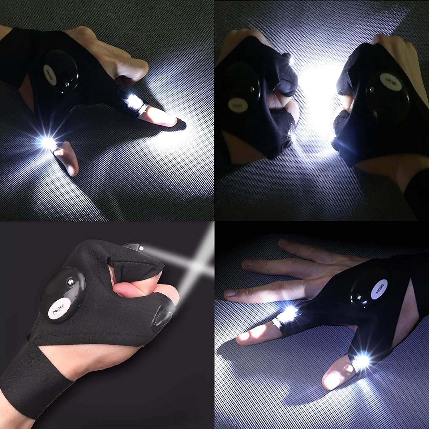 LED Gloves for Men//Women Gadgets Gifts Hands Free Flashlights for Working in Darkness Places Fishing Repair Running Camping Hiking Elegital LED Flashlights Gloves