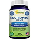 Nicotinamide with Resveratrol - 120 Veggie Capsules - Vitamin B3 500mg (Niacinamide Flush Free) - Supplement Pills to Support