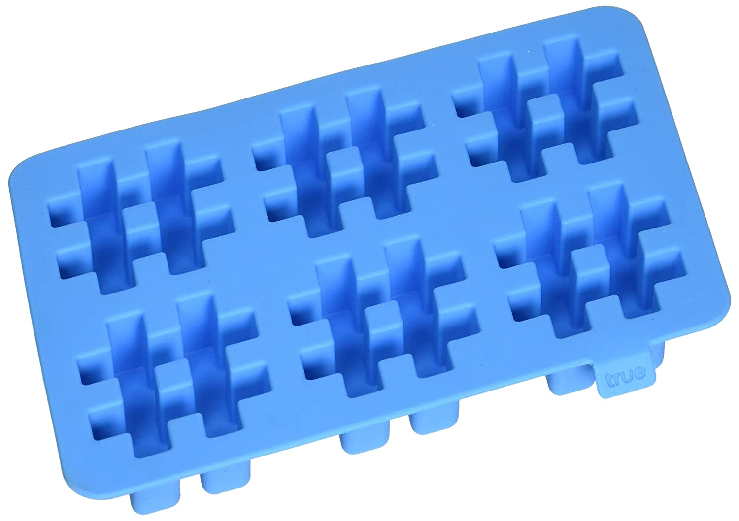 TrueZoo 3341 6.75 Inch Silicone #Pound It Blue Ice Cube Tray True Fabrication