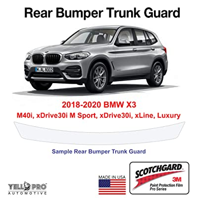 YelloPro Custom Fit Rear Trunk Bumper Edge 3M Scotchgard Paint Protector Film Anti Scratch Clear Bra Guard Cover Self Healing Kit for 2020 2020 2020 BMW X3 M40i xDrive30i M Sport xLine Luxury SUV: Automotive