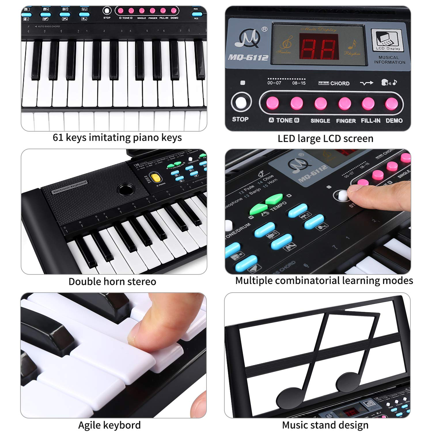 ZJTL 61-Key Digital Electric Piano Keyboard & Music Stand & microphone- Portable Electronic Keyboard (Kids & Adults) MQ-6112 by ZJTL (Image #5)