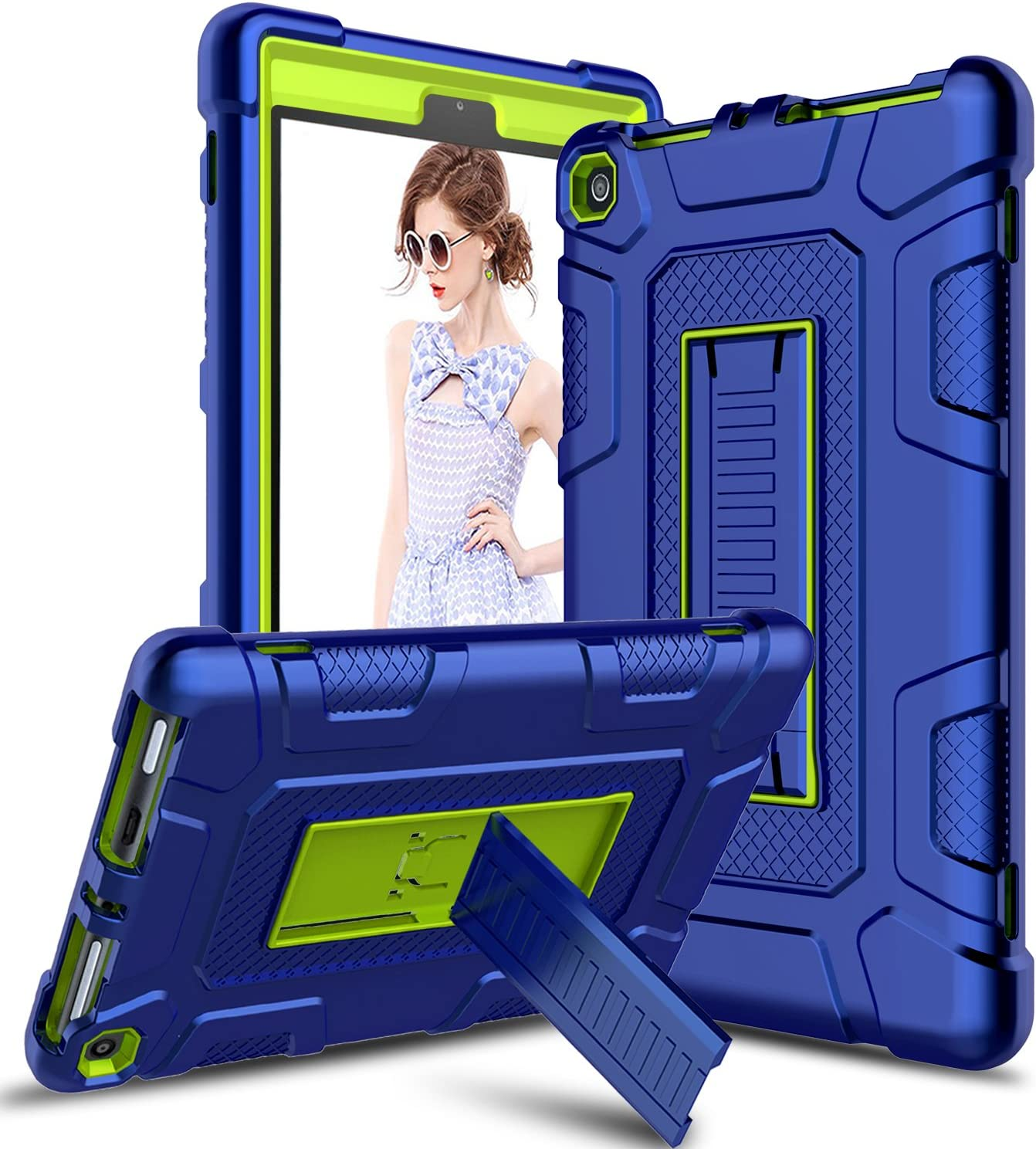Venoro Case for All-New  Fire HD 8 Tablet 7th 8th Generation, 2017 2018 Release Kindle Fire 8 Case Cover with Kickstand Compatible with Fire HD 8 Tablet Blue//Yellow