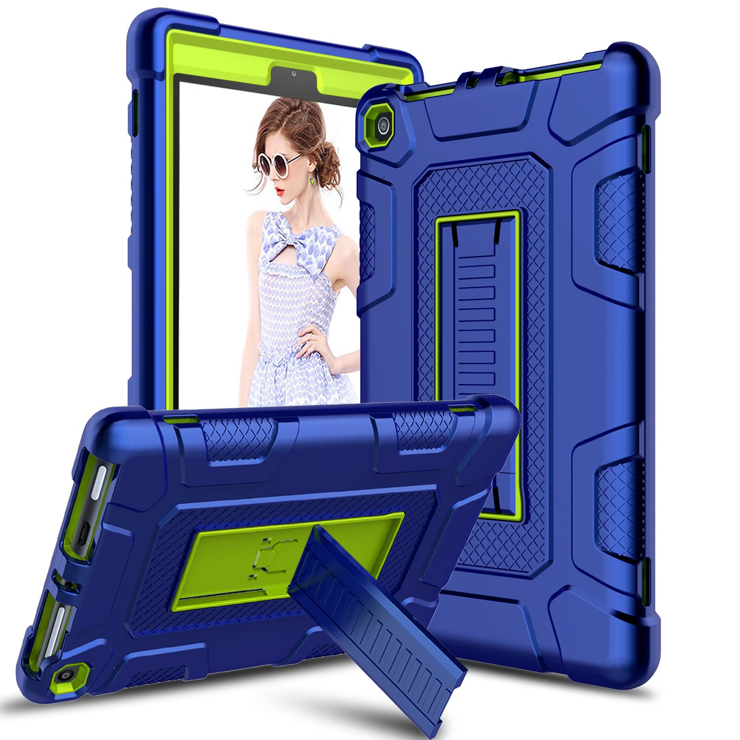 Liwarace Case for All-New Amazon Fire 8 2018 Tablet, Fire 8 2017 Tablet, Three-Layers Shockproof Anti-Slip Protective Case Cover with Kickstand for Amazon Kindle Fire 8 (Yellow)