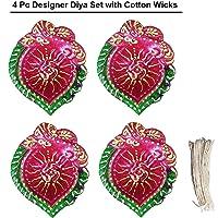 4 Pcs Set of Diwali Gift/Diwali Decorations Diwali Diya.Handmade Natural Earthen Oil Lamp/Welcome Traditional Diyas with…
