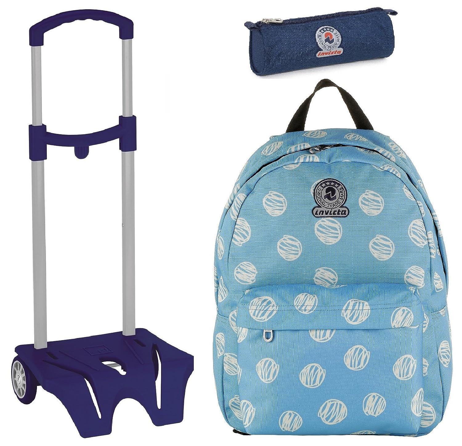 0bd33482a7 Zaino Roundast Invicta + Easy Trolley + Portapenne - Azzurro - Scuola  elementari e Medie 25 LT: Amazon.it: Sport e tempo libero