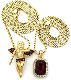 Iced Out Faux Ruby Stone & Single Row Cross Pendant Set 2mm 61cm & 76cm Box Chains in Gold-Tone