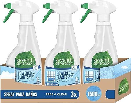 Seventh Generation Free & Clear- Spray para Baño, 0% Cloro y ...
