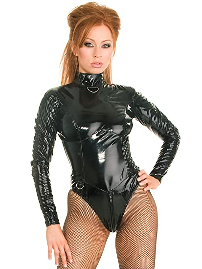 42fa1d2ceb Honour Women s Sexy Bodysuit Black PVC Mistress with High Collar ...