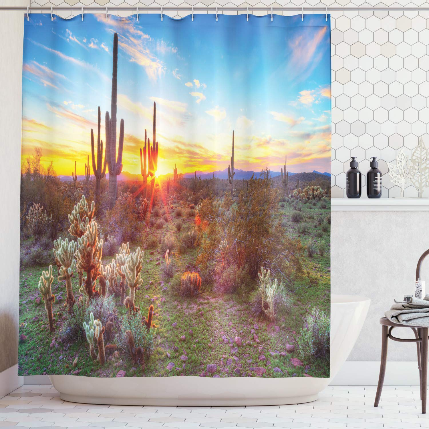 Ambesonne Saguaro Cactus Decor Collection, Saguaros Wildflowers in Sonoran Desert Scene Picture Print, Polyester Fabric Bathroom Shower Curtain Set, 75 Inches Long, Blue Yellow Orange Olive