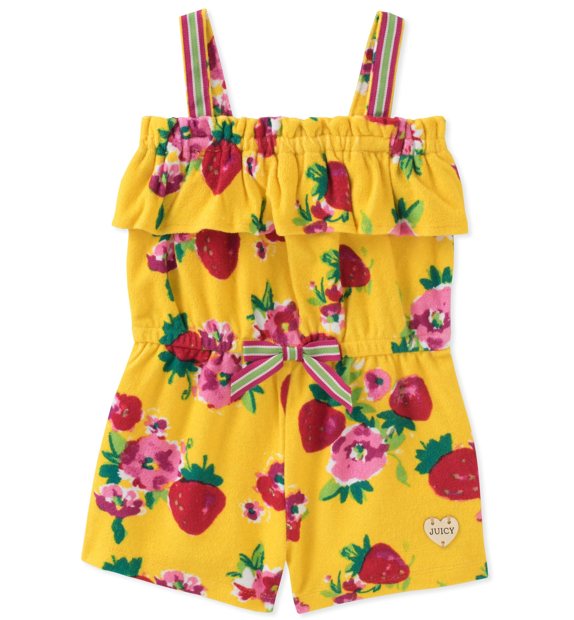 Juicy Couture Girls' Little Romper, Yellow/Print, 5