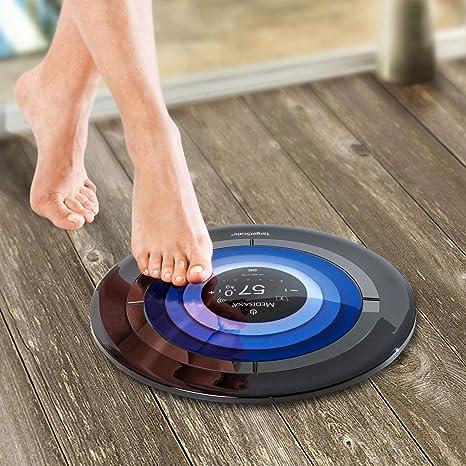 Medisana TargetScale, báscula digital de análisis del cuerpo con modo atleta, grasa corporal, agua corporal, masa muscular, medición del peso de los huesos con aplicación e iluminación LED: Amazon.es: Salud y cuidado