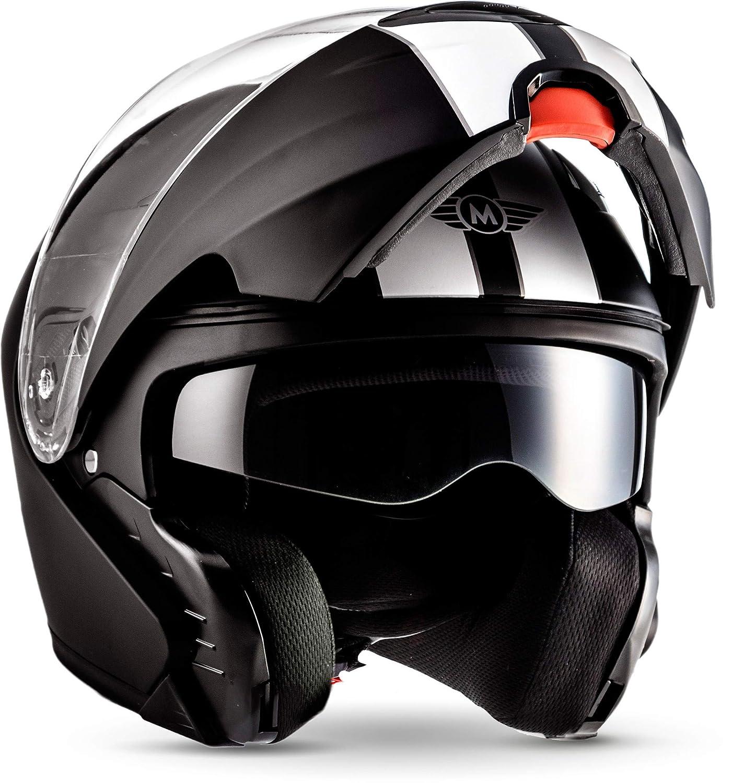 Moto Helmets F19 Racing Shock Scooter Helmet Cruiser Helmet Modular Flip Up Helmet Scooter Folding Helmet Full-Face Helmet –  ECE Certified –  Motorcycle Helmet with Sun Visor –  with carry bag&nb
