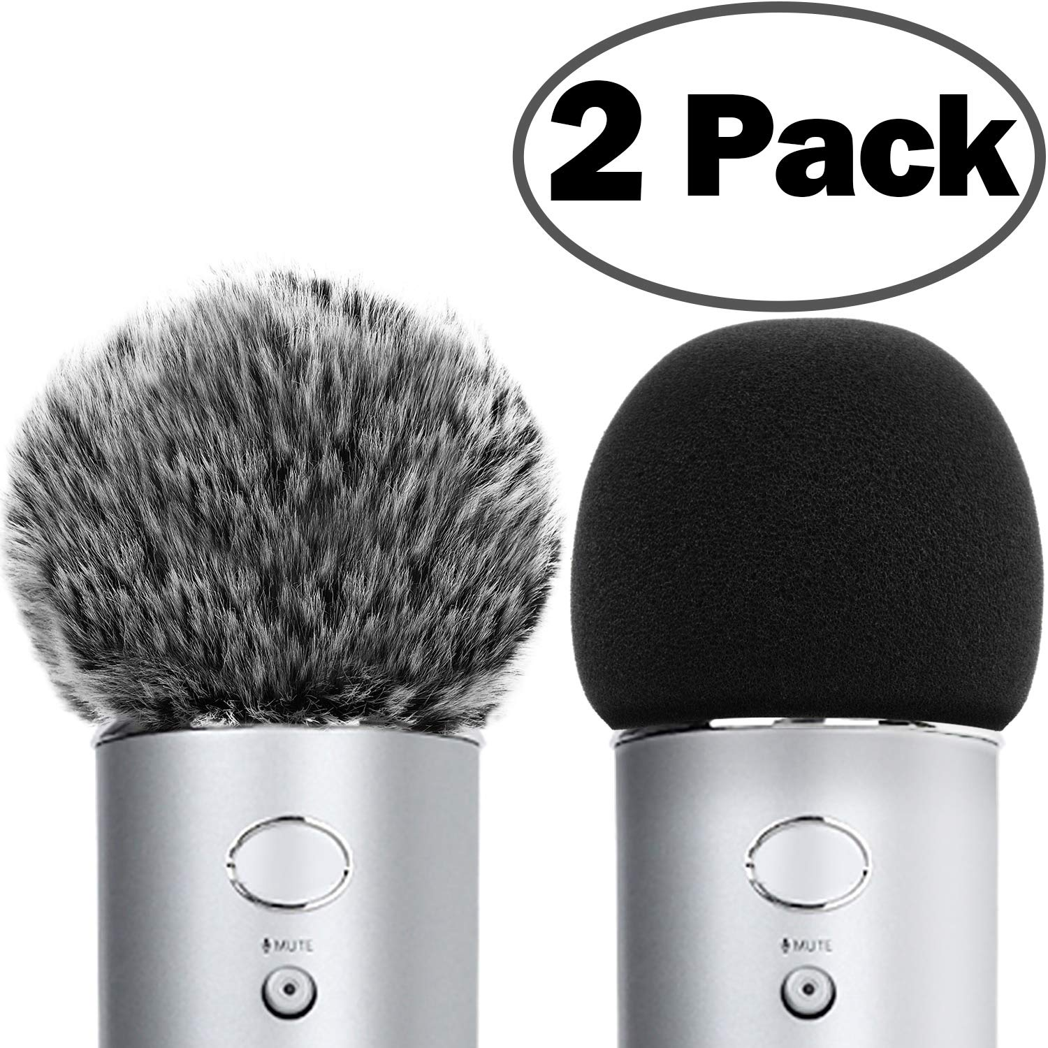 ChromLives Microphone Cover for Blue Yeti Furry Windscreen +Foam Cover Compatible with Blue Yeti, Yeti Pro Condenser (Furry & Foam Combo 2Pack) by ChromLives