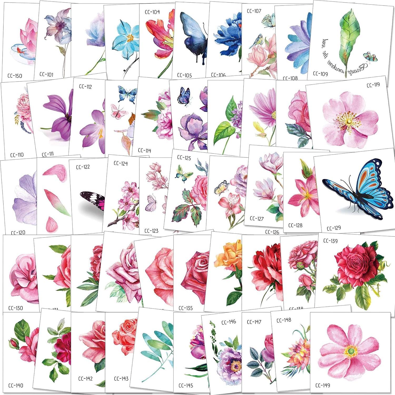 Amazon.com: Konsait - 50 tatuajes temporales de flores para ...