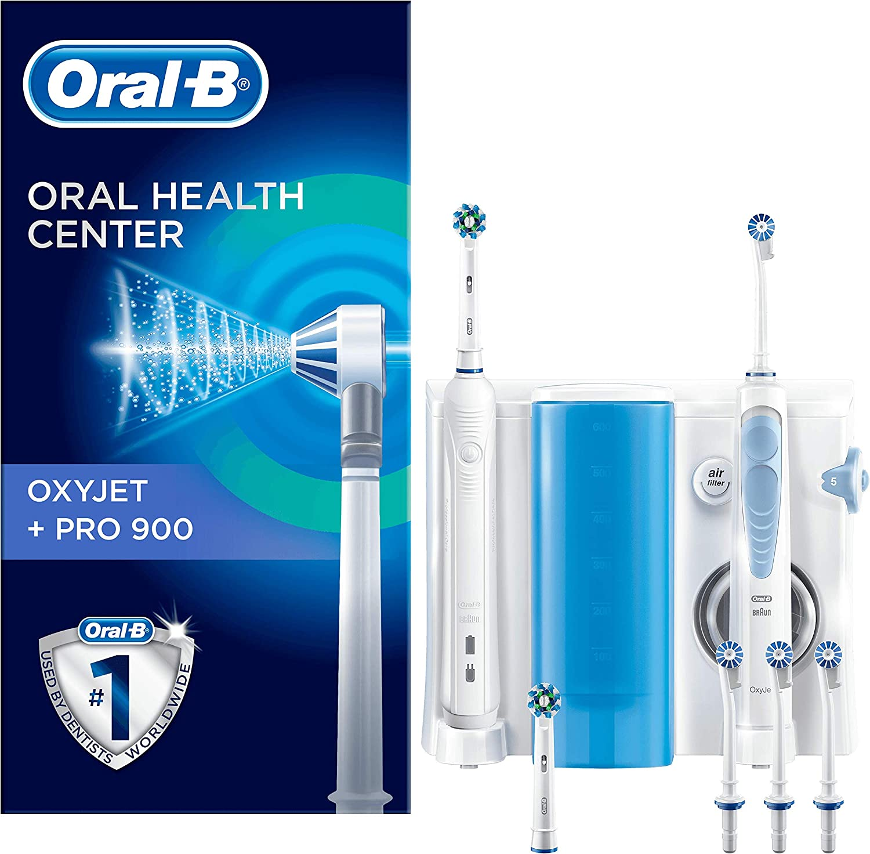 Oral-B Estación de Cuidado Bucal: Oral-B PRO 900 Mango de Cepillo Eléctrico + Oxyjet Irrigador con Tecnología Braun, 4 Cabezales Oxyjet, 2 Cabezales de Recambio