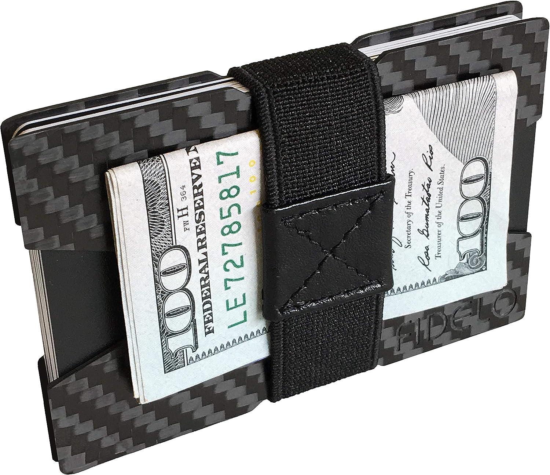 "Fidelo Carbon Fiber Minimalist Wallet - Slim Credit Card Holder Money Clip Wallets for Men - Designed for Front Pocket EDC & Travel - Light Weight & Compact Size: 3.4"" x 2.25"" - Includes 4 Cash Bands"