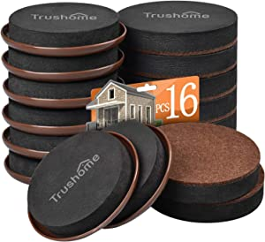Furniture Sliders for Carpet and Hardwood Floors, Trushome 16 PCS 3 1/2 inch Felt Furniture Sliders for Moving Your Heaviest Items Safely, Reusable Heavy Moving Pads Move Your Furniture Easily