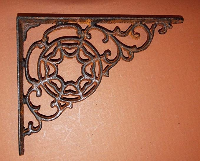 SET OF 6 SPIDERWEB CAST IRON SHELF BRACE BRACKETS rustic black finish