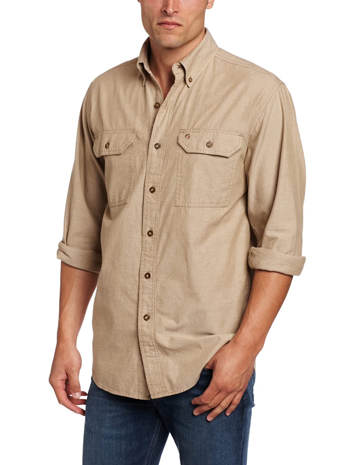Amazon.com: Carhartt Men's Fort Lightweight Chambray Button Front ...