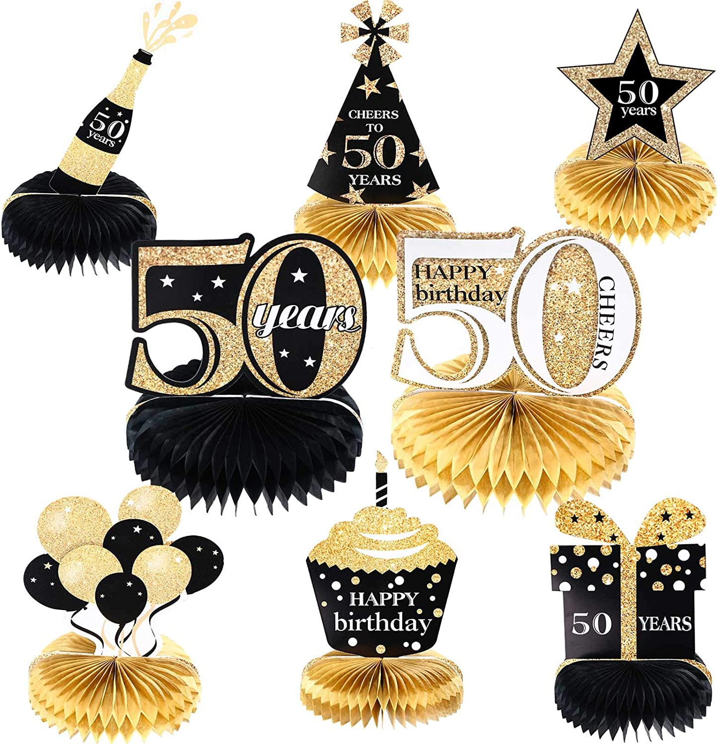 8 Pieces 50th Birthday Honeycomb Centerpieces 50th Party Centerpieces Happy Birthday Cheers to 50 Years Table Decorations 50th Party DecorationsSupplies