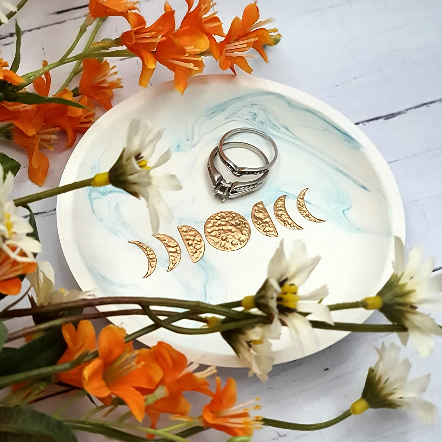 Moon Goddess Jewelry Boho Decor for Bedroom Phases of the Moon Ring Dish Choose Your Moon Color Celestial Moon Ring Holder Dish Moon Jewelry Dish Moon Phases Jewelry Dish Bohemian Ring Holder