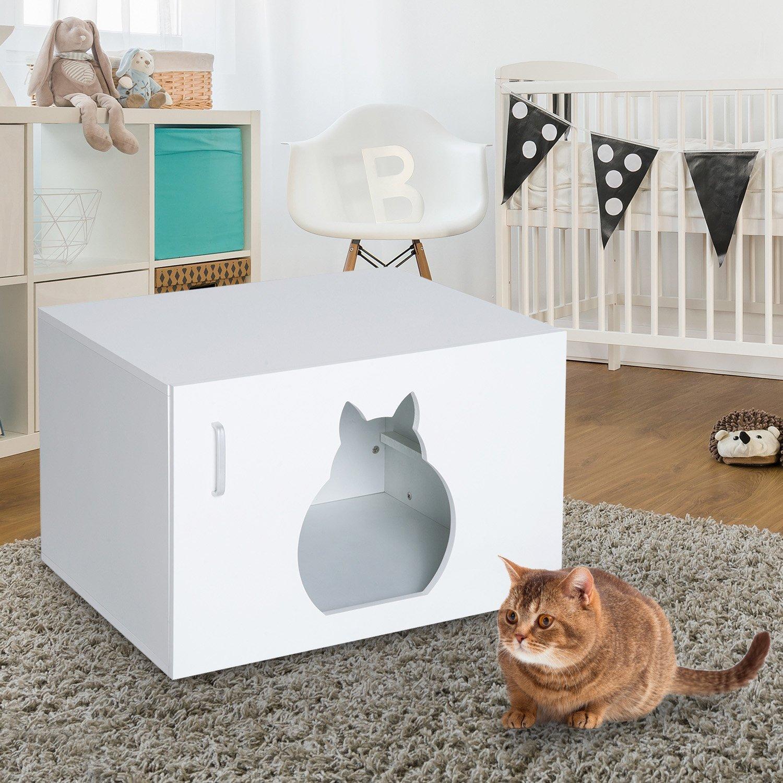 PawHut® Katzenhöhle Katzenhaus Katzenschrank Versteck und ...