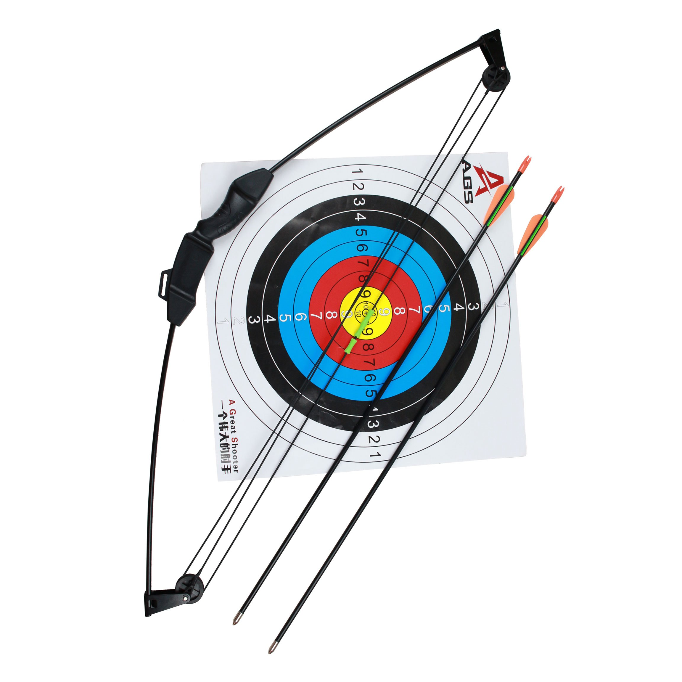 Geelife 35'' Junior Compound Bow and Arrow Archery Set with 2 Arrows and Target Sheet for Youth Kids Children