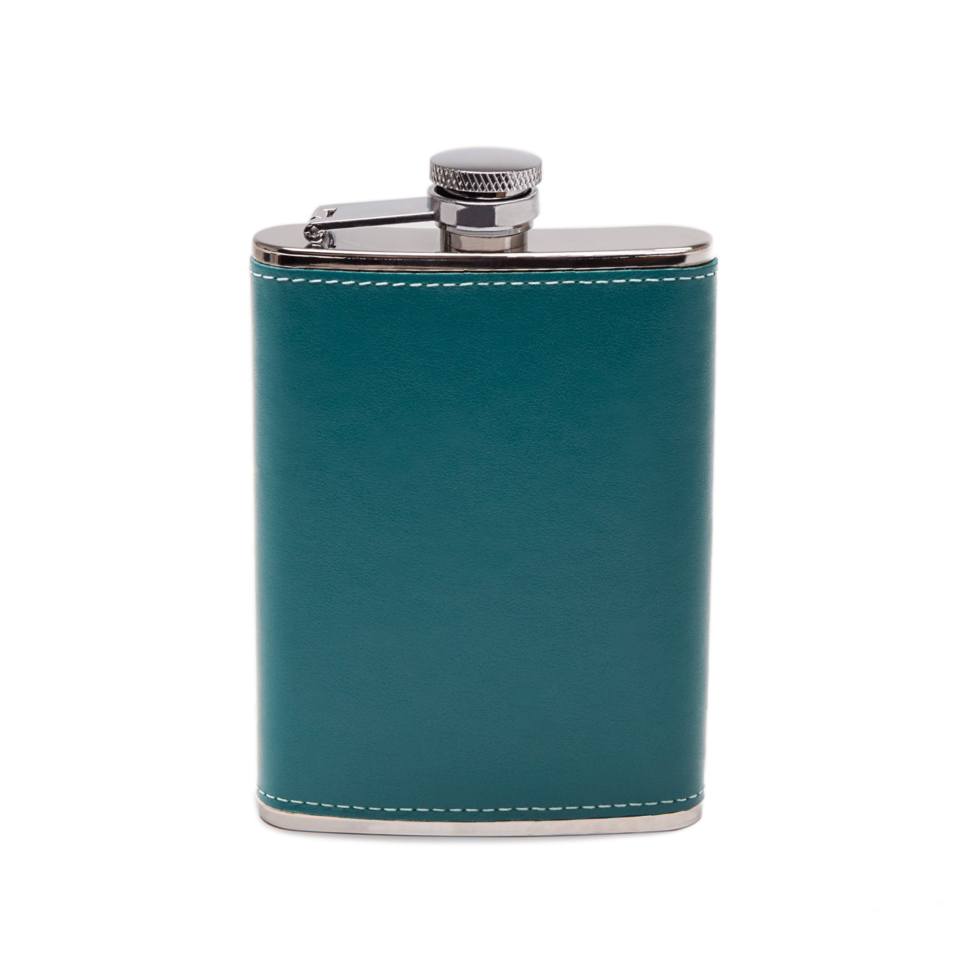 Ettinger Sterling Collection Captive Top Leather Bound Hip Flask, 6 Ounces - Turquoise/Silver