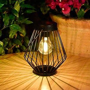 Solar Lantern Outdoor Hanging Light - Pearlstar Solar Powered Waterproof Metal Table Lamp Lantern with Edison Bulb, Great Decor for Pathway Garden Patio Porch (Warm Light)