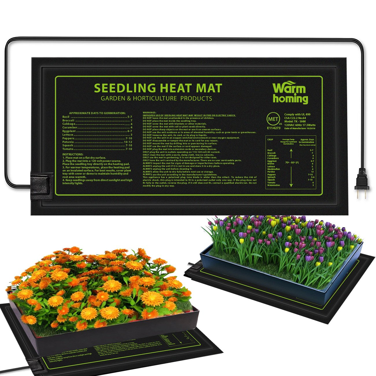 Seedling Heat Mat, Warmhoming Durable Waterproof Seedling Heating Mat Germination Station Heat Mat, Hydroponic Heating Pad 18.5'' x 8.5'' Using for Seed Starter In Home Garden