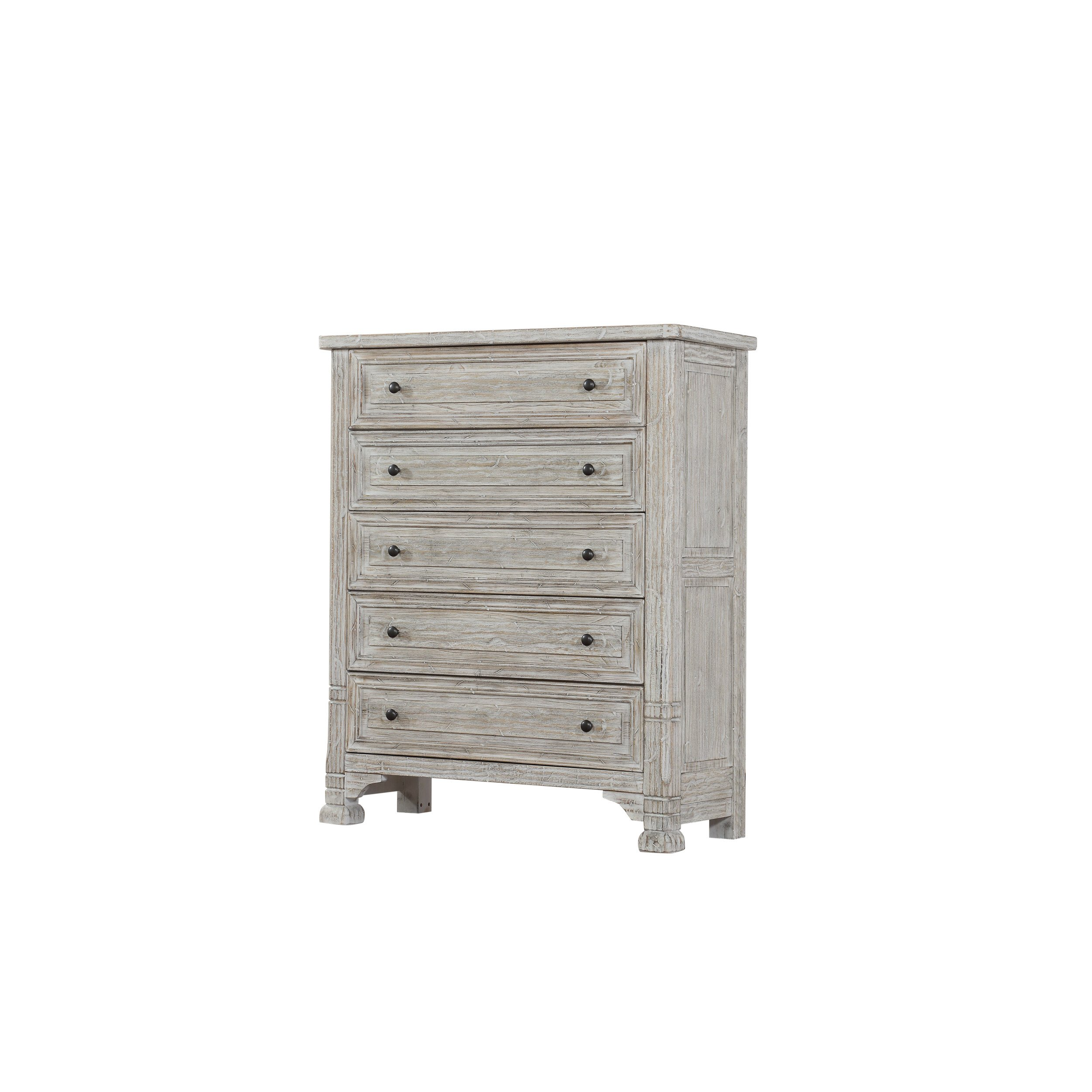 Emerald Home Taos Wisp White Chest with Five Drawers And Burnished Brass Hardware
