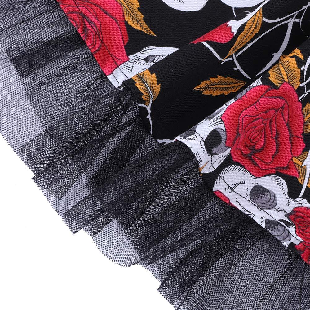 oten Vestidos 50s Vintage Rockabilly de Halterneck de C/óctel Fiesta de Las Mujeres