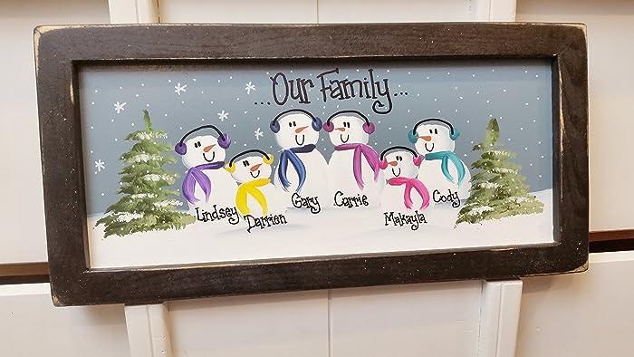 15 inch personalized snowman family painting handpainted custom grandma christmas present mom