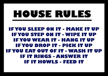 1776 EXTRA LARGE FUNNY HOUSE RULES METAL ADVERTISING WALL SIGN RETRO