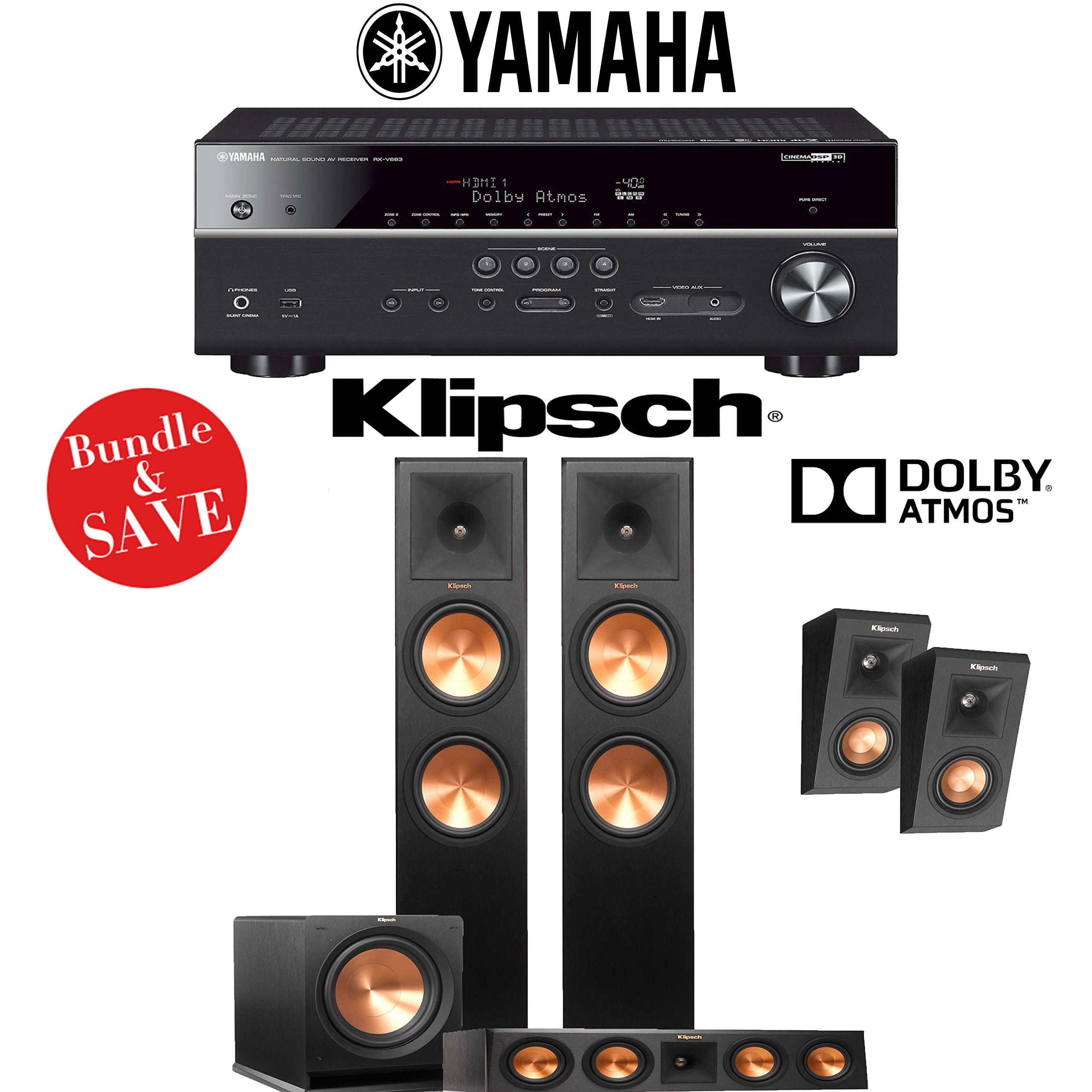 Klipsch Reference Premiere RP-280F 3.1.2-Ch Dolby Atmos Home Theater System with Yamaha RX-V683BL 7.2-Ch 4K Network AV Receiver