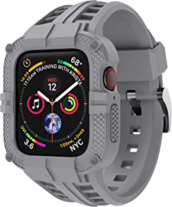 T-ENGINE Band Compatible with Apple Watch Band 44mm Series 4 Series 6/5/SE, TPU Rugged Sports Band with Full Protection Case for Men/Women, No Screen Protector