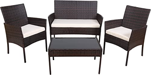 GOJOOASIS 4PCS Outdoor Patio Furniture Wicker Sectional Sofa Set White Cushioned Seat