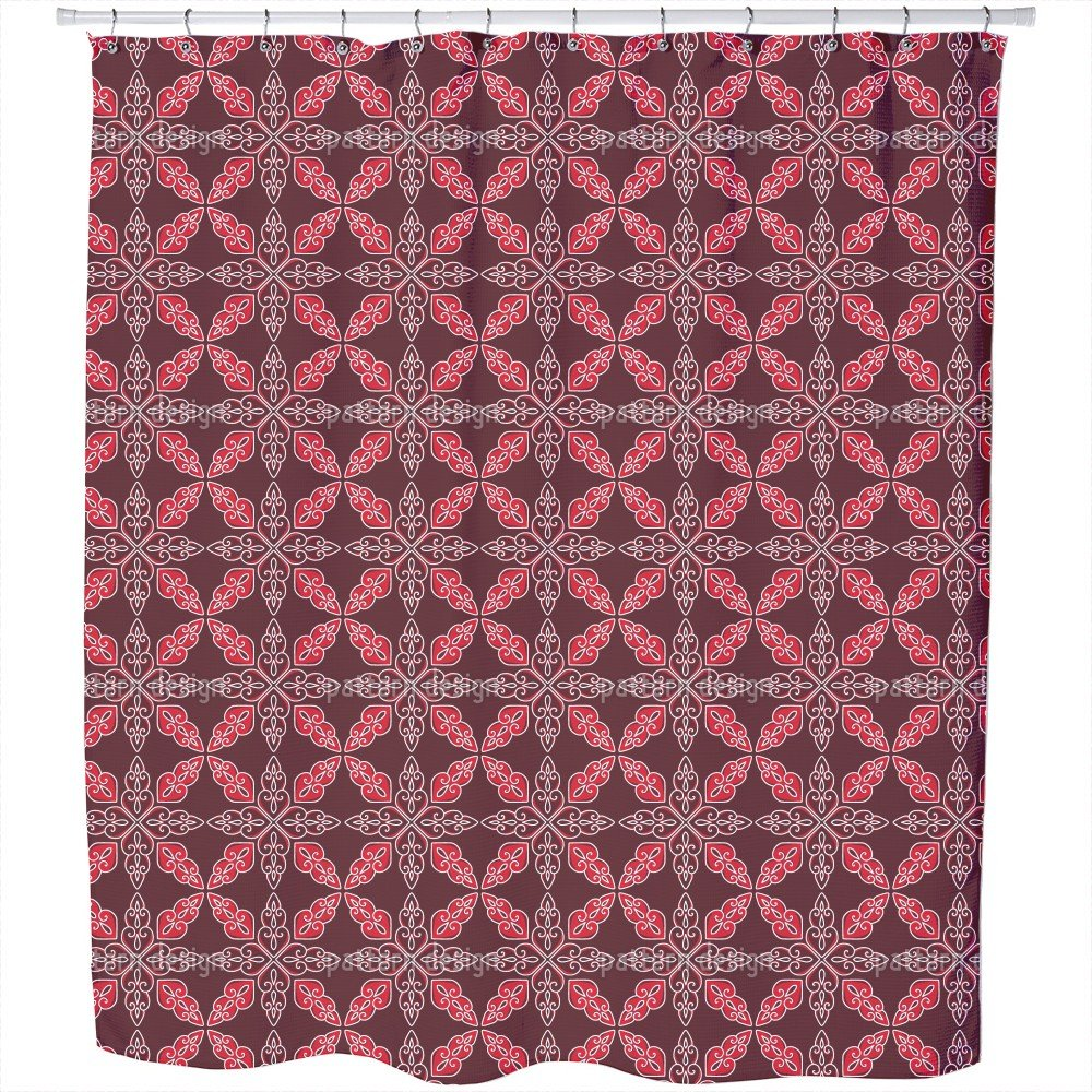 Uneekee Moroccan Red Shower Curtain: Large Waterproof Luxurious Bathroom Design Woven Fabric