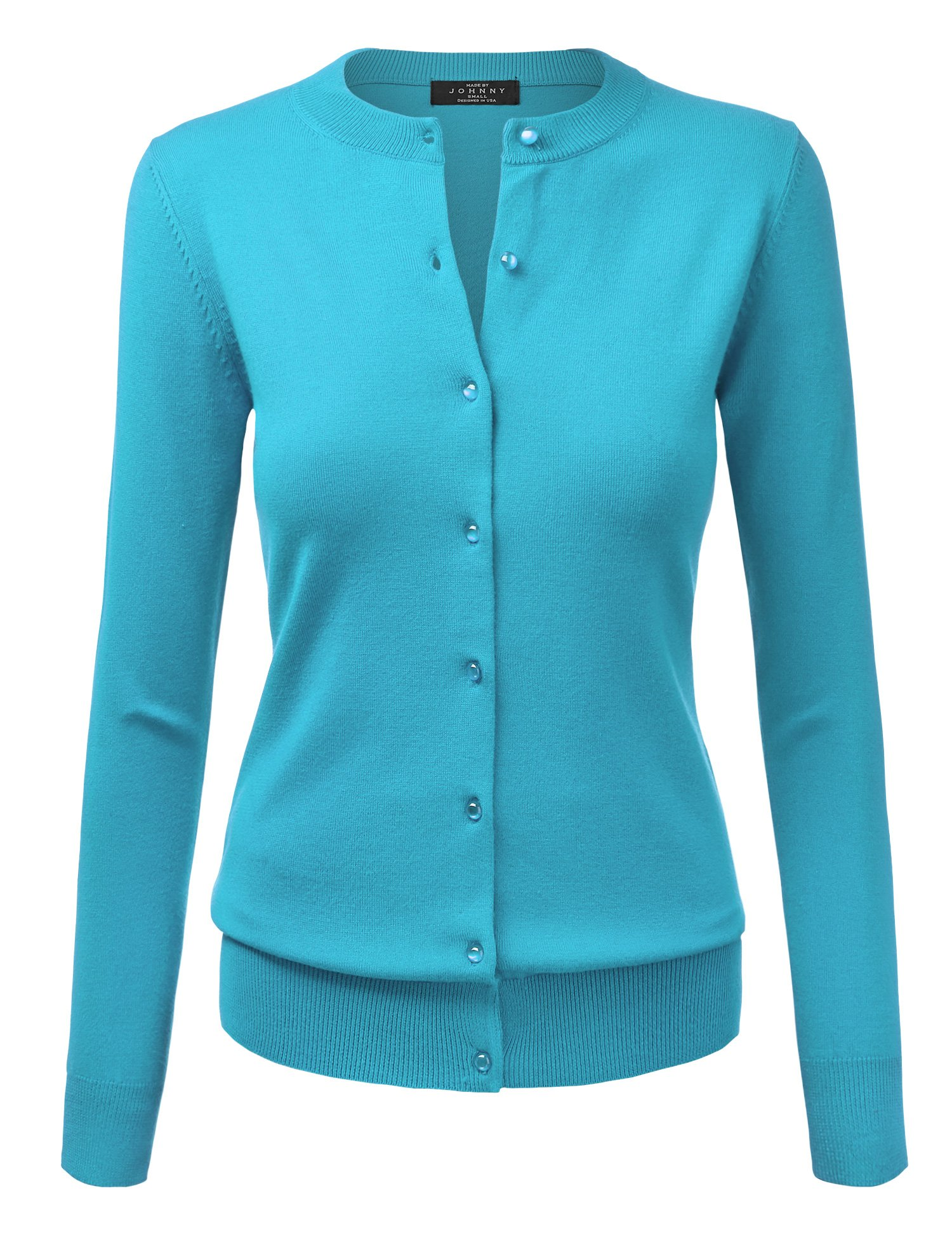 Made By Johnny WSK781 Womens Keep It Classic Round Cardigan XXL Aqua