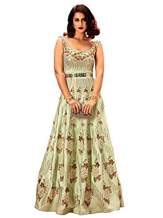 Khwaab Fusion Magic Mint Designer Ready Made Party Wear Indian Style Gown, Bust: 36
