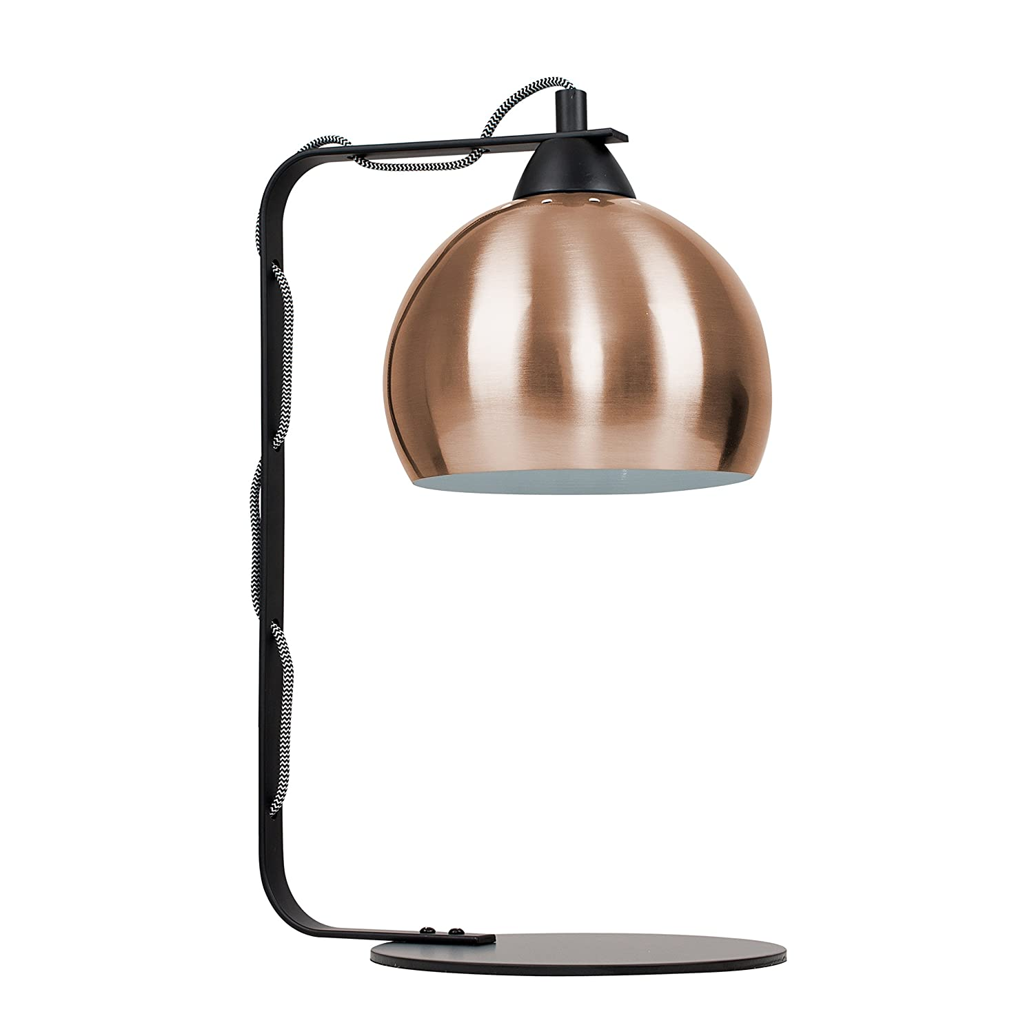 Modern Matt Black Curved Stem Design Table Lamp With A Copper Dome Shade by Amazon