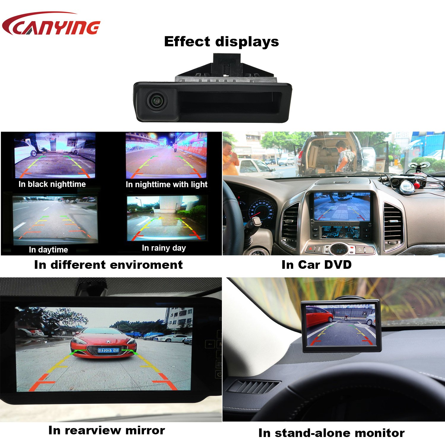 Canying Car Rear View Reverse Back Trunk Handle Camera Special for BMW E60 E61 E70 E71 E72 E82 E88 E84 E90 E91 E92 E93 X1 X5