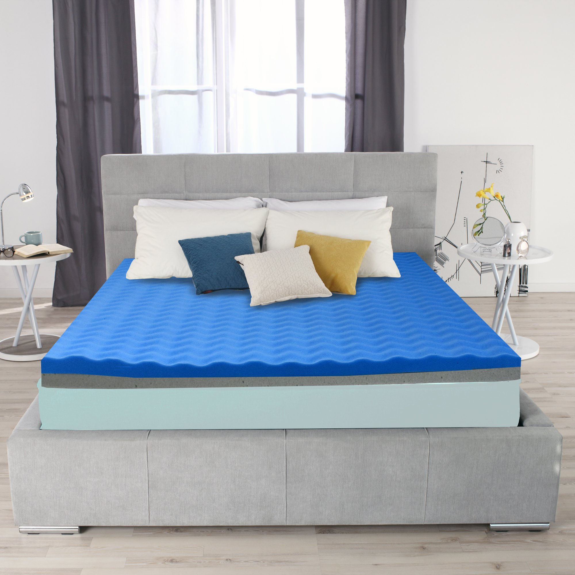 Ayer Comfort 3 Inch Memory Foam Mattress Topper Double Sided Firm and Soft - Graphite Gel and Cool Flow Technology- California King Made in the USA