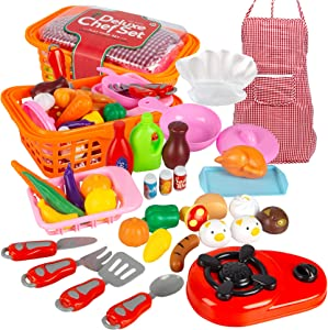 Attmu 34 Pcs Kids Play Food Set Play Kitchen Accessories Pretend Play Toy Food Sets for Boys and Girls Kitchen Educational Learning Tool Christmas Birthday Gifts