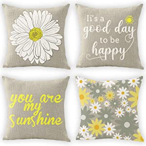 flySpacs Summer Decorative Set of 4 Pillow Cover Yellow and Grey,Pillow Covers 18x18 Daisy Decor Throw Pillow Covers for Living Room Couch Cushion Bed Indoor Outdoor Patio Farmhouse Home Decorations