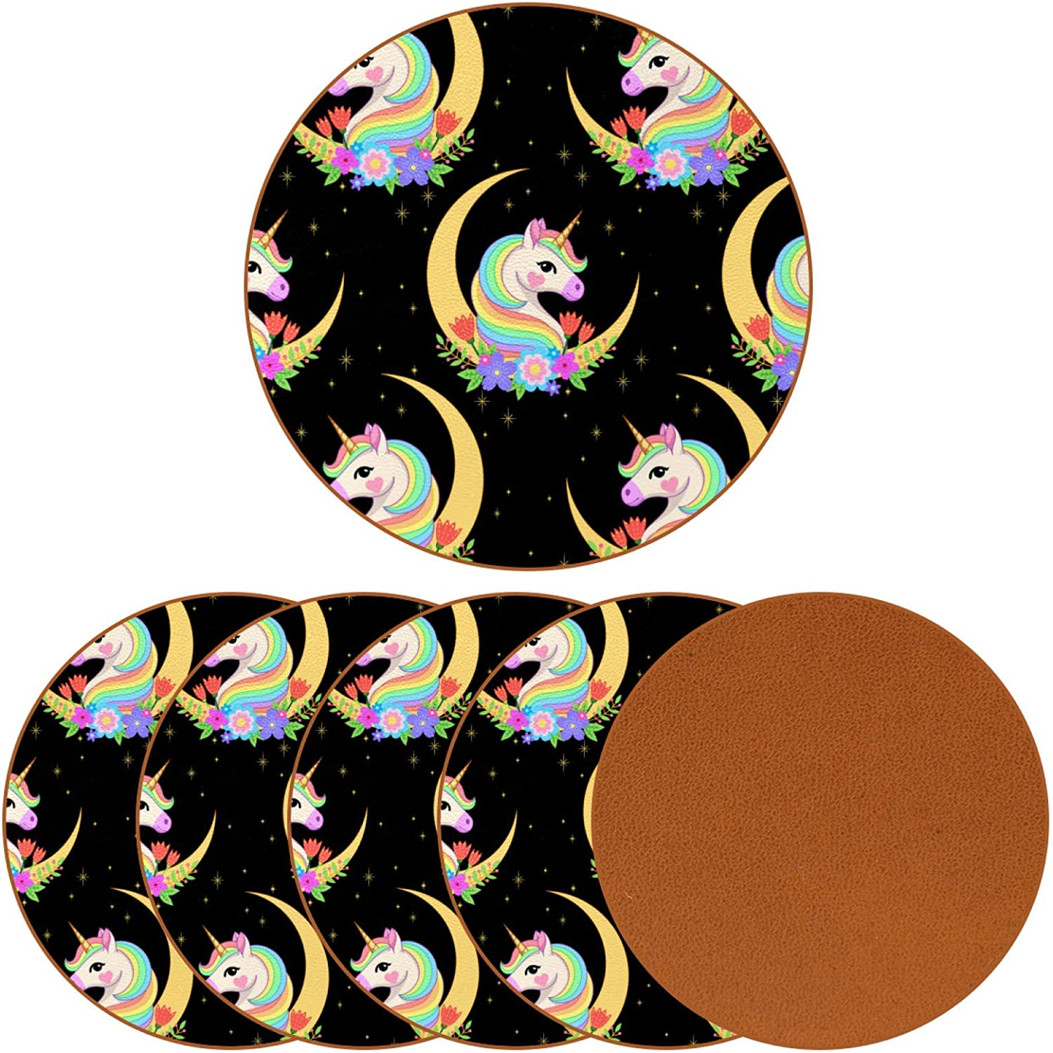 Crescent with Unicorn Head Coasters for Drinks,Naughty Gifts for Apartment Decor,Leather Coasters Protect Your Furniture from Stains,6PCS