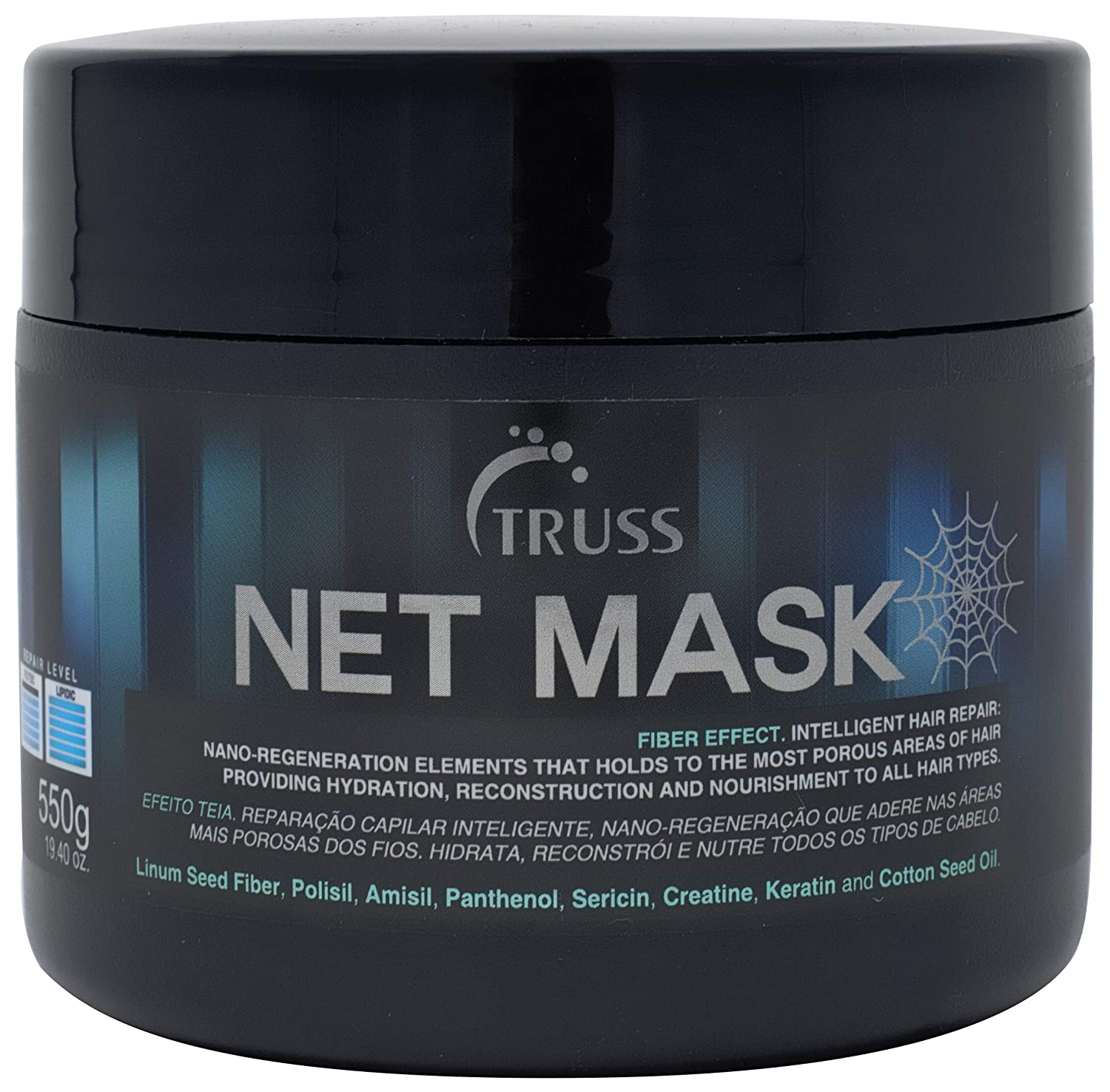 TRUSS Net Mask - Intensive Repair Mask for Curly Hair & All Other Hair Types - Nano Protein Infused, Anti-Static Hair Mask, Reconstructor, Detangler, Anti-Frizz, Repairs Damaged Hair, Hydrates Curls