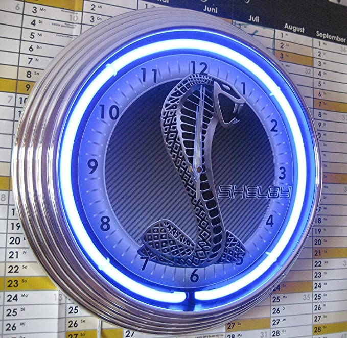 Neón reloj pared azul signo cobra shelby
