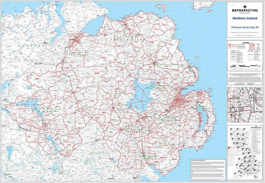 Irlanda del Norte Código Postal Sector 36 - Laminated Wall Map: Amazon.es: Oficina y papelería