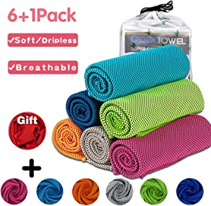 Cooling Towels for Neck Wrap [6+1+1Pack] Instant Cooling 37x12 Inches, Ice Microfibe Towel,Super Breathable Chill Towel for Yoga, Sports,Golf, Workout, Gym, Fitness, Camping